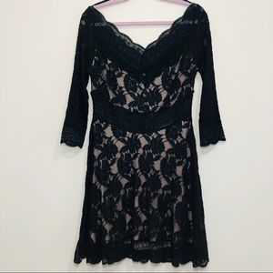 Free People floral lace sheer embroidered dress L
